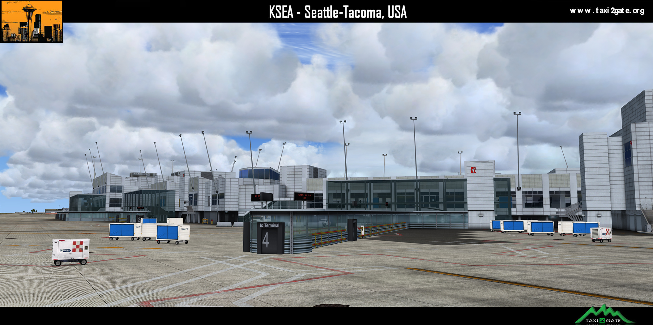 TAXI2GATE - SEATTLE-TACOMA INTERNATIONAL AIRPORT KSEA P3D4