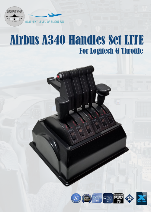 COCKPIT PHD - AIRBUS A340 HANDLES SET LITE FOR LOGITECH G PRO THROTTLE