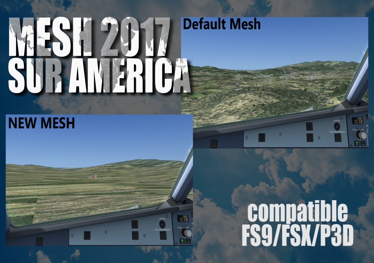 FLIGHTSIMDESIGN CHILE - MESH 2017 SOUTH AMERICA FSX P3D FS2004