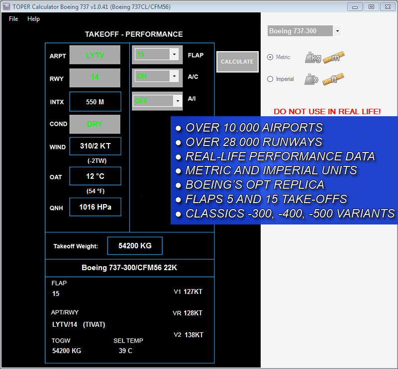 TOPER CALCULATOR TOOL - B737 CLASSICS