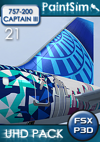 PAINTSIM - UHD TEXTURE PACK 21 FOR CAPTAIN SIM BOEING 757-200 III FSX P3D