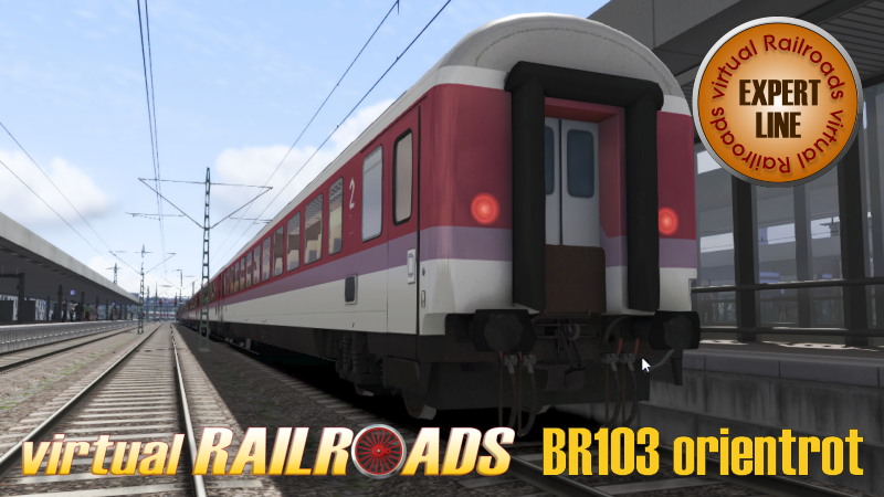 VIRTUAL RAILROADS - DB BR103 ORIENT RED WITH MAIN TRAFFIC COACHES OF THE 90S