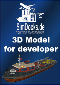"SIMDOCKS.DE - 3D MODEL HAMBURG TUG BOAT BARGE ""FRANZ"""