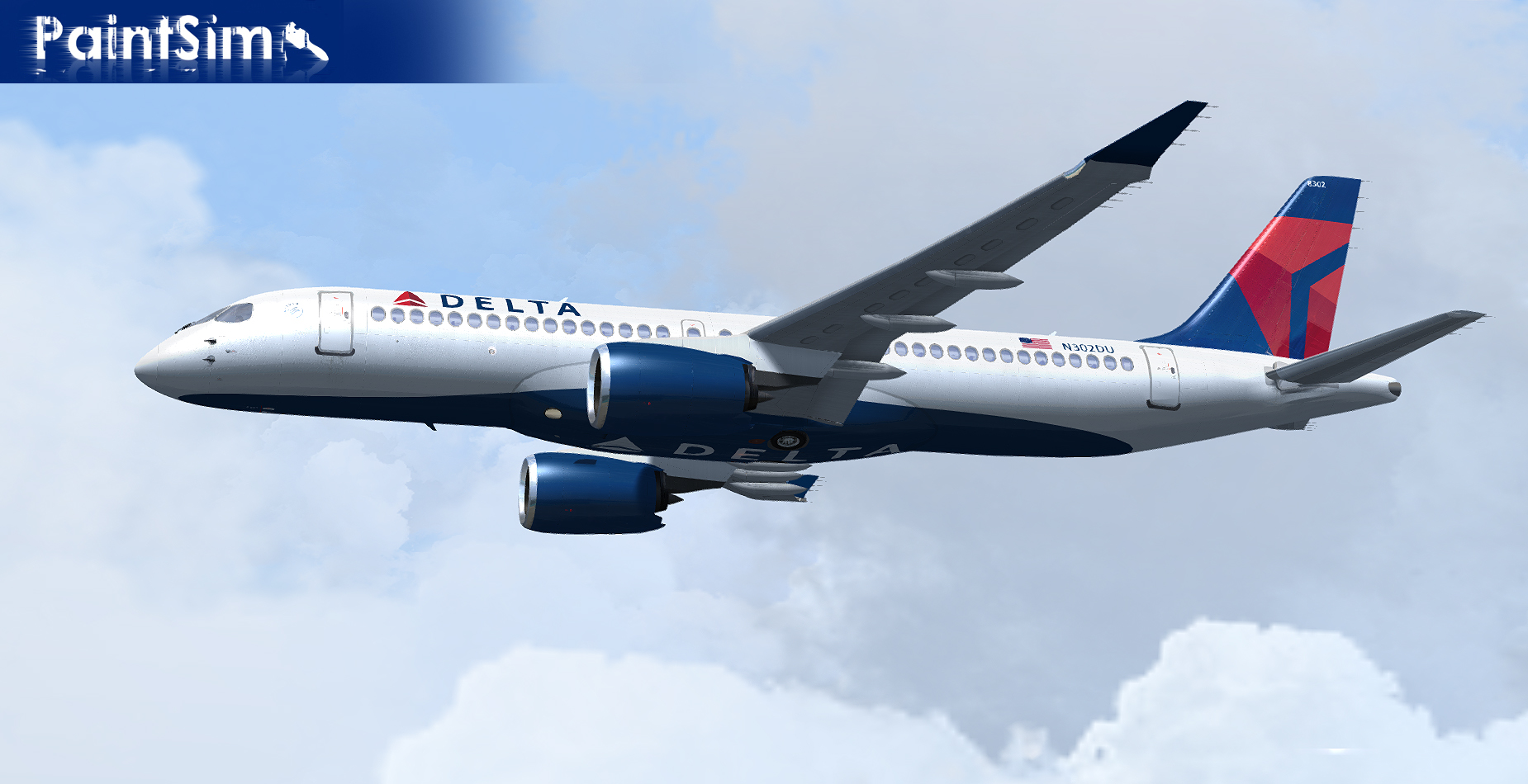 PAINTSIM - UHD TEXTURE PACK FOR VIRTUALCOL AIRBUS A220-300 FSX P3D