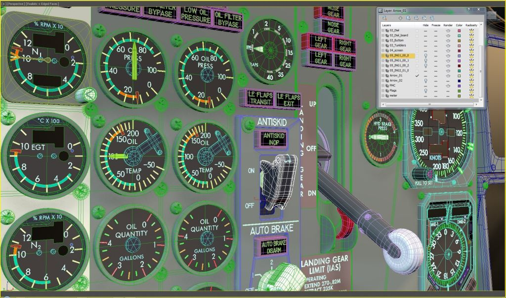 UTT - BOEING 737 CLASSIC FULL SCENE OVERHEAD MAIN PEDESTAL SOURCE MODEL FOR 3DS MAX
