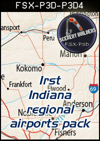 FSXCENERY -   1ST INDIANA REGIONAL AIRPORTS PACK (4) FSX P3D