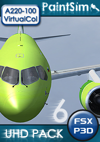 PAINTSIM - UHD TEXTURE PACK 6 FOR VIRTUALCOL AIRBUS A220-100 FSX P3D