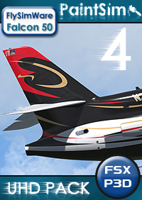 PAINTSIM - UHD TEXTURE PACK 4 FOR FLYSIMWARE FALCON 50 FSX P3D