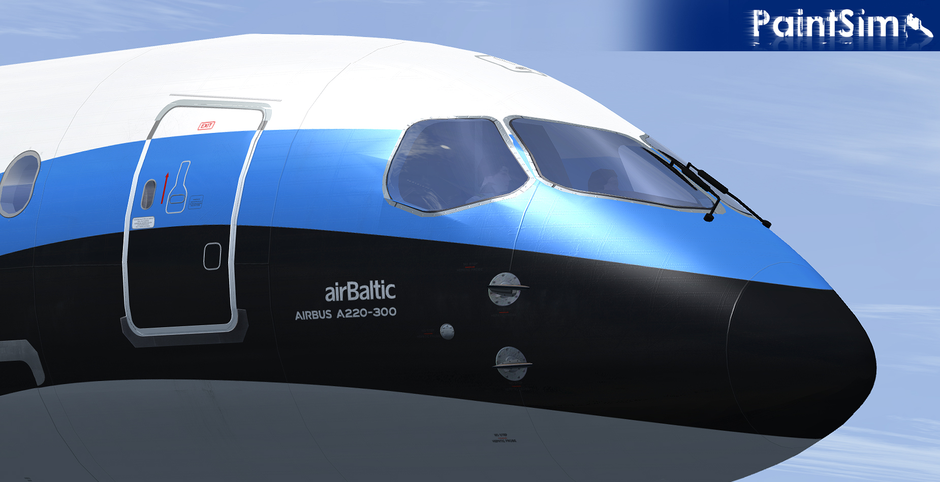 PAINTSIM - UHD TEXTURE PACK 4 FOR VIRTUALCOL AIRBUS A220-300 FSX P3D