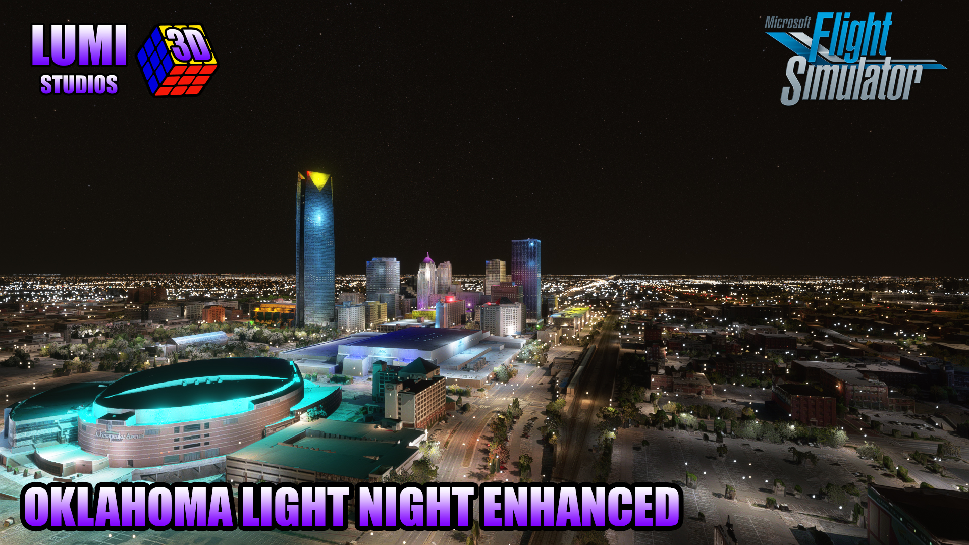 LUMI 3D STUDIOS - OKLAHOMA (USA) NIGHT LIGHT ENHANCED MSFS