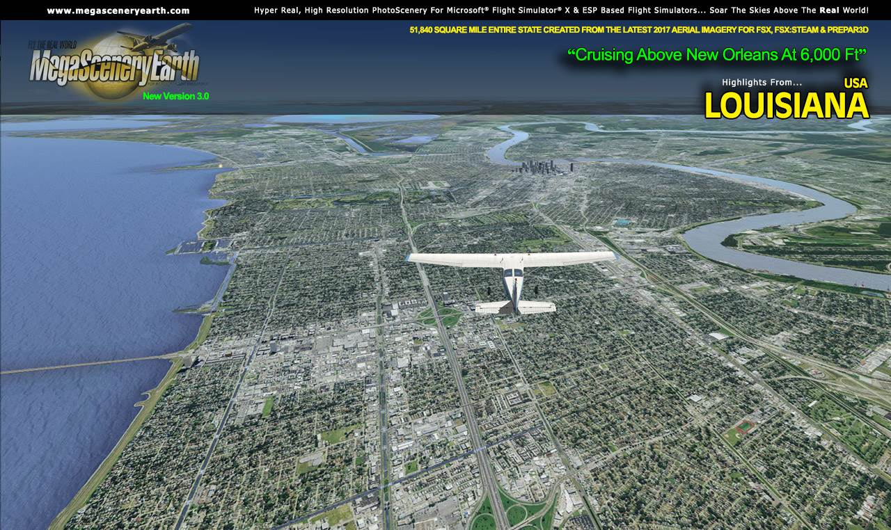 MEGASCENERYEARTH - PC AVIATOR - MEGASCENERY EARTH V3 - LOUISIANA FSX P3D