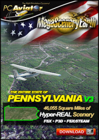 PC AVIATOR - MEGASCENERY EARTH V3 - PENNSYLVANIA FSX P3D