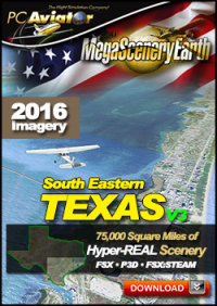 PC AVIATOR - MEGASCENERY EARTH V3 - TEXAS SOUTH EAST FSX P3D