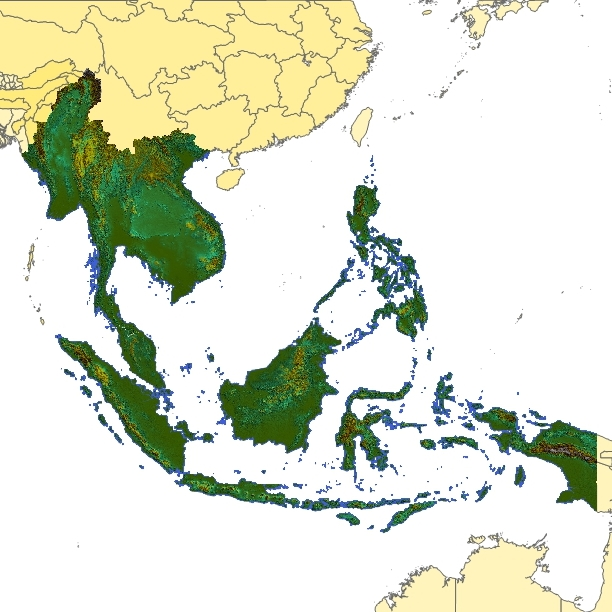 TOPOSIM - CONTINENTS - SOUTHEAST ASIA