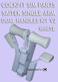 COCKPIT SIM PARTS - SAITEK SINGLE ARM DUAL HANDLES KIT V2 (WHITE)