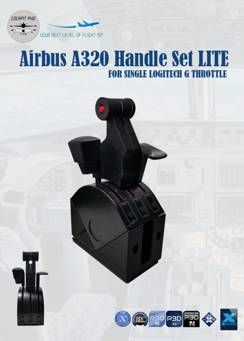 COCKPIT PHD - AIRBUS A320 HANDLES SET (SINGLE ARM DUAL VERSION) FOR LOGITECH G PRO THROTTLE