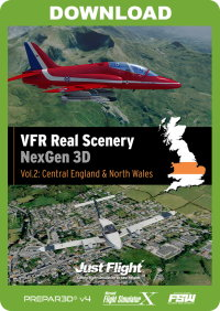JUSTFLIGHT - VFR REAL SCENERY NEXGEN 3D VOL 2 CENTRAL ENGLAND & NORTH WALES FSX P3D