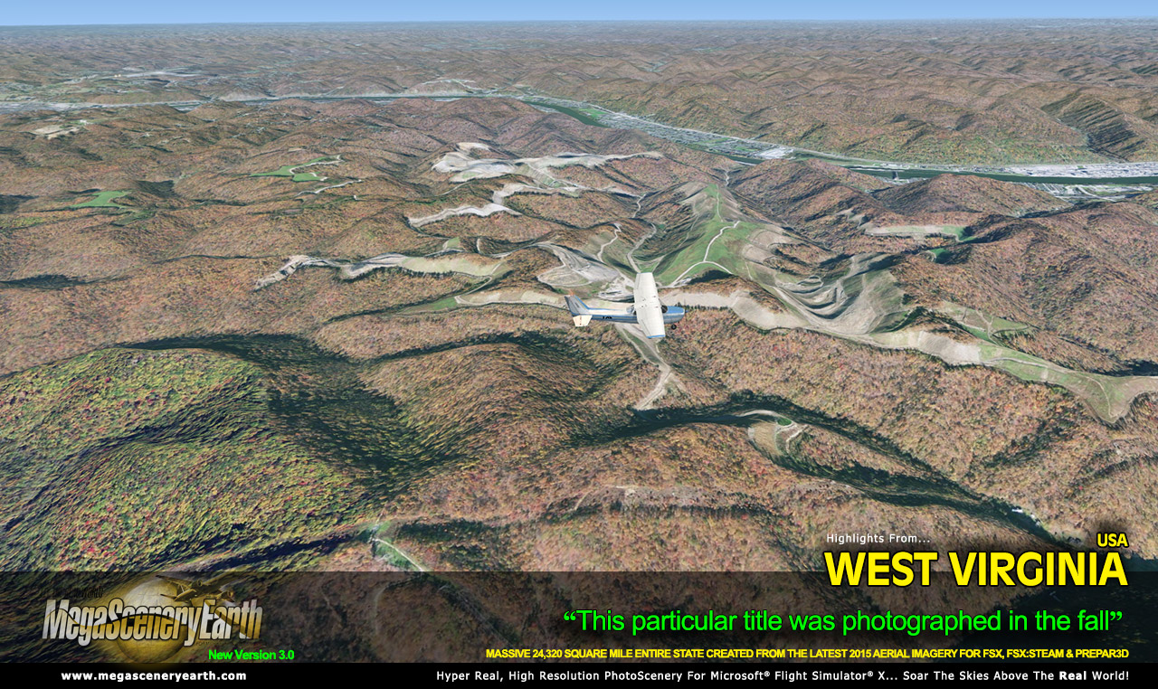 MEGASCENERYEARTH - PC AVIATOR - MEGASCENERY EARTH V3 - WEST VIRGINIA FSX P3D