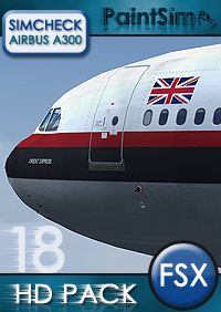 PAINTSIM - HD TEXTURE PACK 18 FOR SIMCHECK AIRBUS A300B4-200 FSX