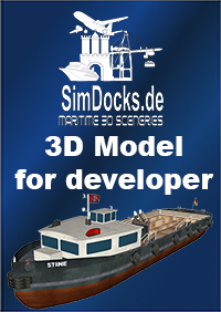 "SIMDOCKS.DE - 3D MODEL HAMBURG HABOR BARGE ""STINE"""