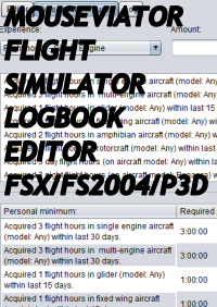 MOUSEVIATOR - FLIGHT SIMULATOR LOGBOOK EDITOR FSX FS2004 P3D X-PLANE