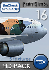 PAINTSIM - HD TEXTURE PACK 16 FOR SIMCHECK AIRBUS A300B4-200 FSX