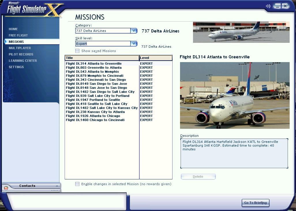 PERFECT FLIGHT - FSX MISSIONS - 737 DELTA