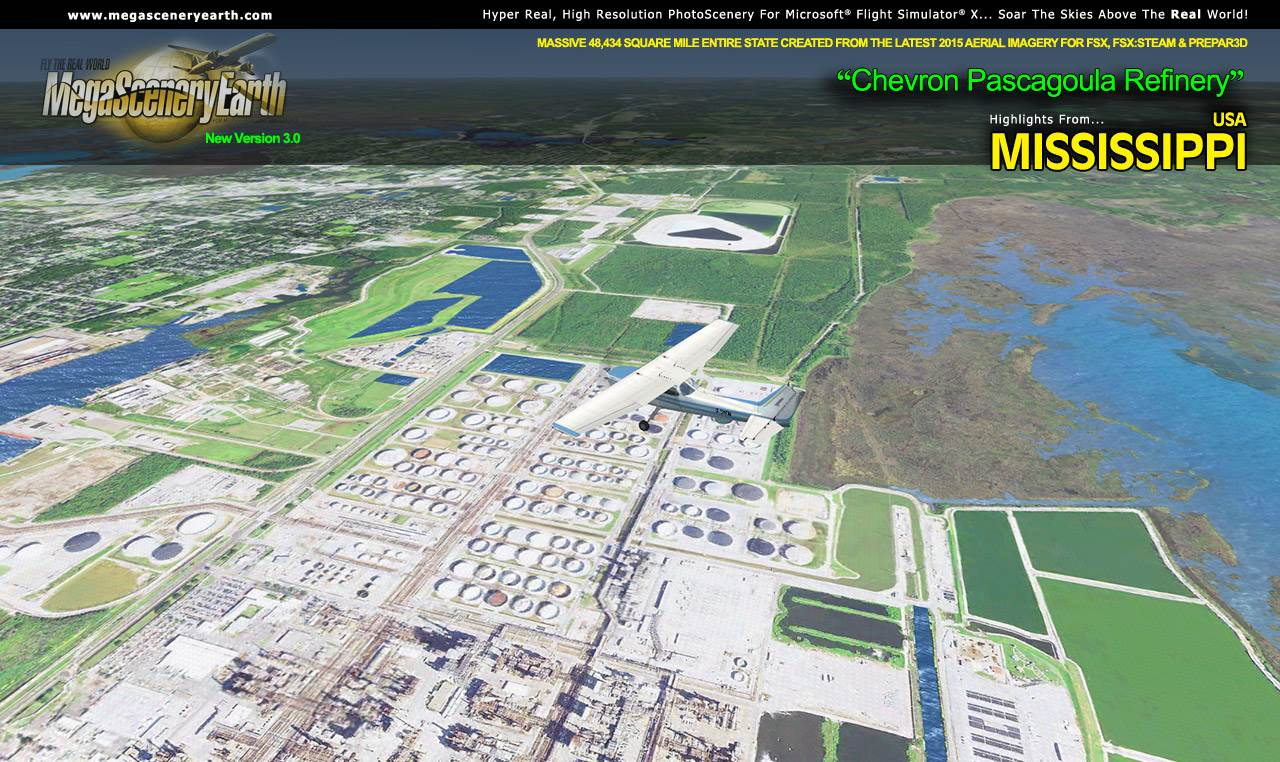 MEGASCENERYEARTH - PC AVIATOR - MEGASCENERY EARTH V3 - MISSISSIPPI FSX P3D