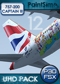 PAINTSIM - UHD TEXTURE PACK 12 FOR CAPTAIN SIM BOEING 757-200 III FSX P3D
