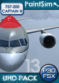 PAINTSIM - UHD TEXTURE PACK 13 FOR CAPTAIN SIM BOEING 757-200 III FSX P3D