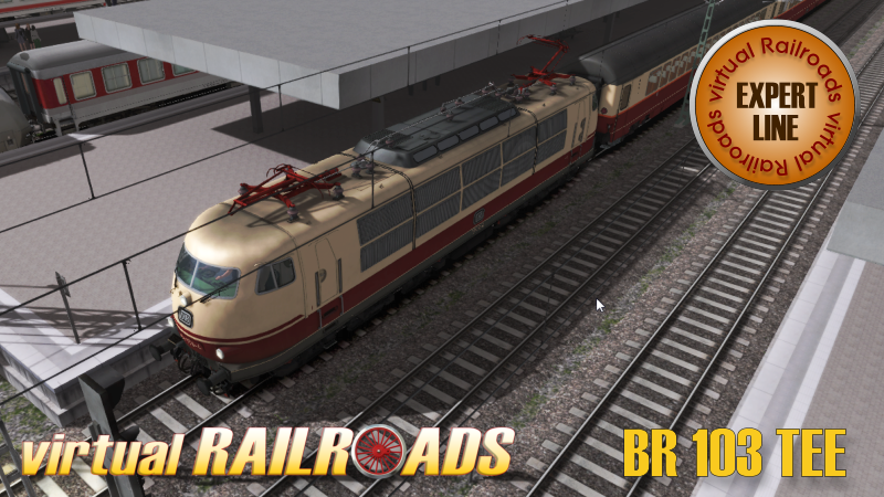 VIRTUAL RAILROADS - DB BR103 TEE COLOUR WITH RHINEGOLD EXPRESS COACHES