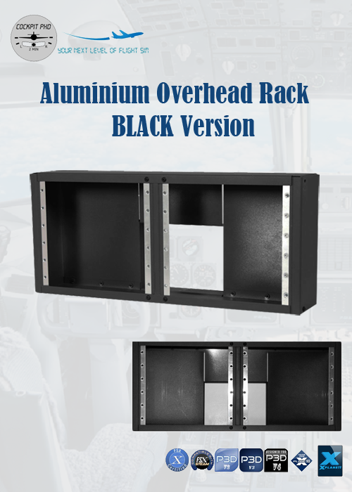 COCKPIT PHD - ALUMINIUM OVERHEAD RACK FOR PRO-PANEL (BLACK)