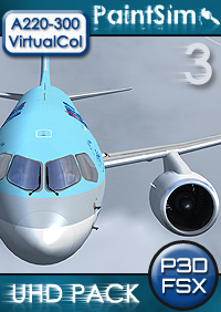 PAINTSIM - UHD TEXTURE PACK 3 FOR VIRTUALCOL AIRBUS A220-300 FSX P3D