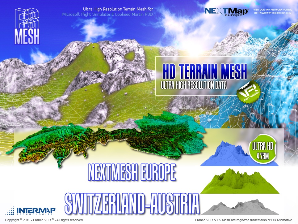 FRANCEVFR - NEXT MESH EUROPE SWITZERLAND-AUSTRIA FSX, FSX:SE AND P3D V2.0 TO V2.5