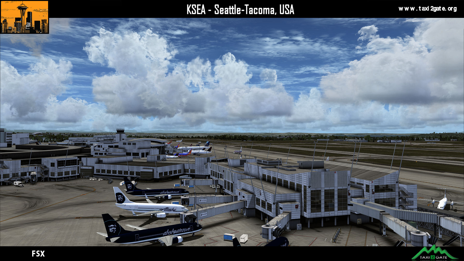 TAXI2GATE - SEATTLE-TACOMA INTERNATIONAL AIRPORT KSEA FSX P3D