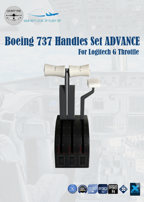 COCKPIT PHD - BOEING 737 HANDLES SET ADVANCE FOR LOGITECH G PRO THROTTLE