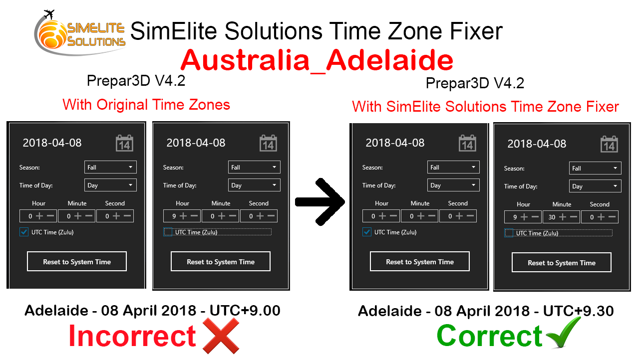 SIMELITE SOLUTIONS - TIME ZONE FIXER FSX P3D