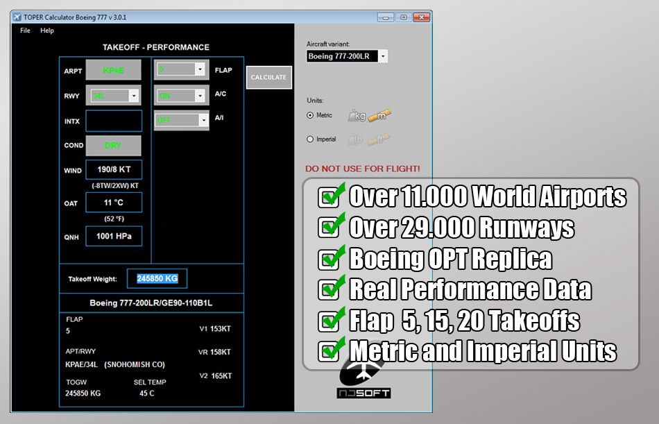 TOPER CALCULATOR TOOL - B777 V3.0 (TAKEOFF PERFORMANCE CALCULATOR)