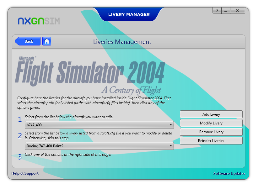 NXGN SIMULATIONS - LIVERY MANAGER FOR FS2004/FSX/P3DV1/P3DV2