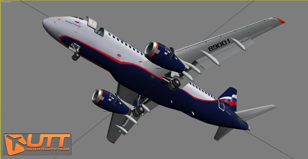 UNITED TRAFFIC TEAM - SUKHOI SUPERJET 100 SOURCE MODEL FOR 3DS MAX