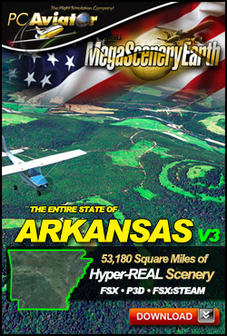 MEGASCENERYEARTH - PC AVIATOR - MEGASCENERY EARTH V3 - ARKANSAS FSX P3D