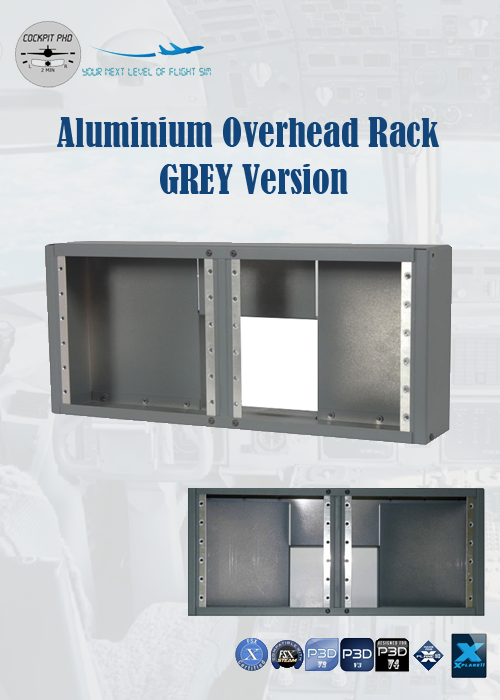 COCKPIT PHD - ALUMINIUM OVERHEAD RACK FOR PRO-PANEL (GREY)